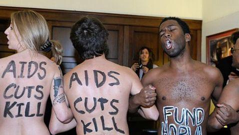 Nude AIDS Protestors Invade John Boehner's Office