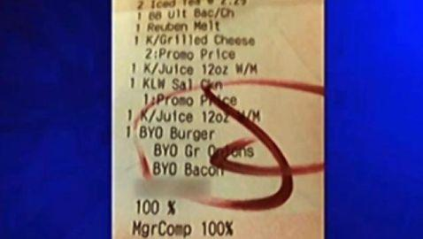 Family Receives Vulgar Note on Friendly's Check