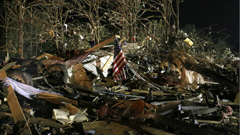 Wreckage Left in the Wake of a Tornado in Oklahoma
