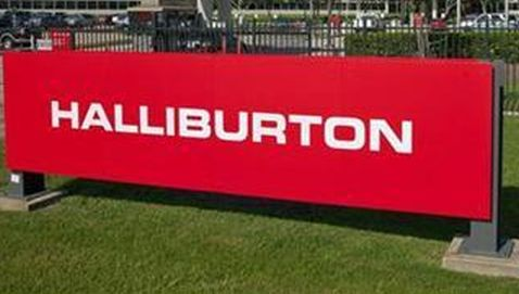 The company logo of Halliburton oilfield services corporate offices is seen in Houston