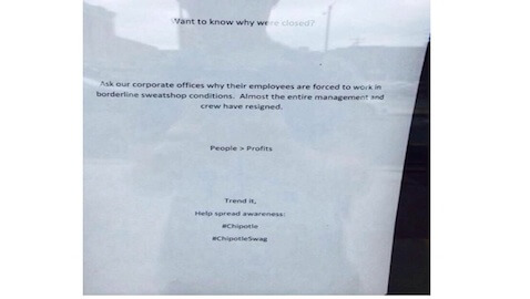 "Chipotle Shuts Down as Workers Protest ""Borderline Sweatshop Conditions"""