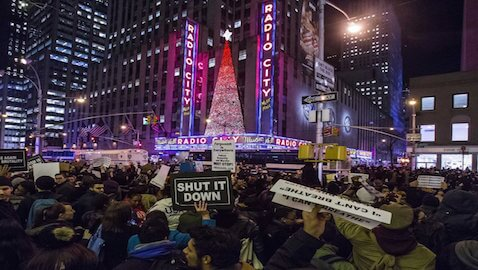 Protestors fill New York City streets after the Eric Garner decision was announced.