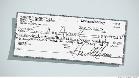 The divorce between Sue Ann Arnall and Harold Hamm may have ended with a $1 billion settlement check.