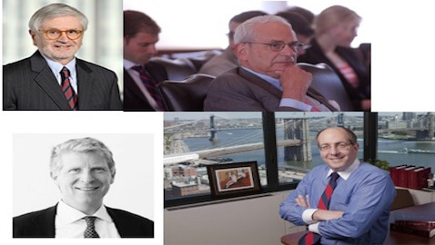 Clockwise from top left: Austin Campriello, Elkan Abramowitz, Andrew Frisch, and Manhattan District Attorney Cyrus R. Vance.