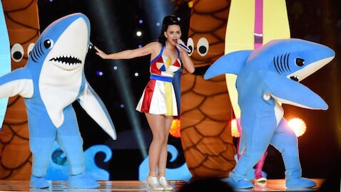 """Katy Perry's application for a trademark of """"Left Shark"""" has been rejected."""