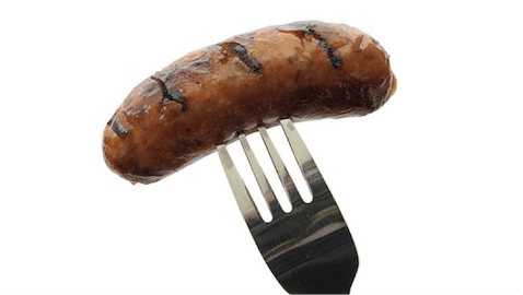 Hot dog on fork