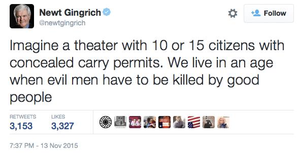 Newt Gingrich Tweets About Guns