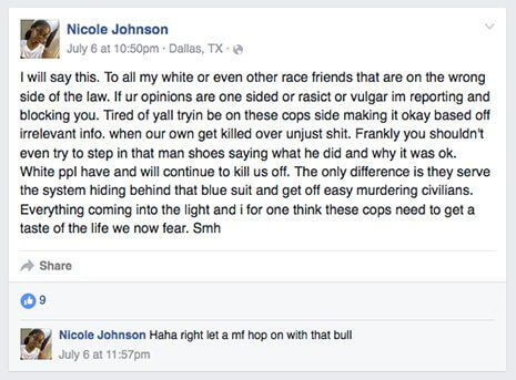 Nicole Johnson Facebook post