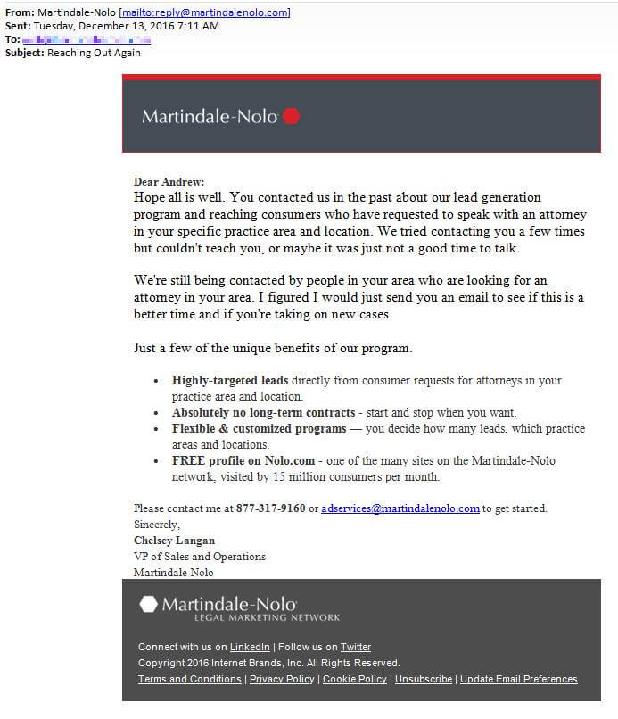 Follow-up email from Martindale Nolo